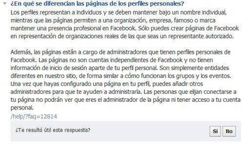 Diferencia entre perfil y página en Facebook