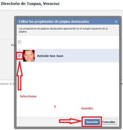 Quien es el administrador o propietario o creador de una pagina de fans de facebook