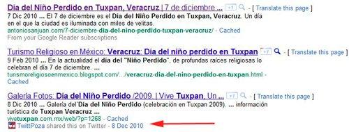 Como se muestra el Google Social Search