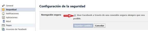 Cómo activar la navegación segura en Facebook