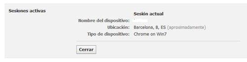 Ver sesiones activas en cuenta de Facebook