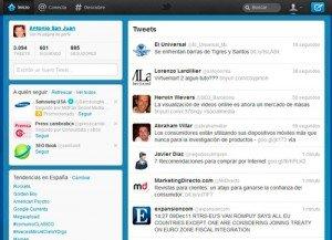 Perfil de Antonio San Juan con el nuevo diseño de twitter