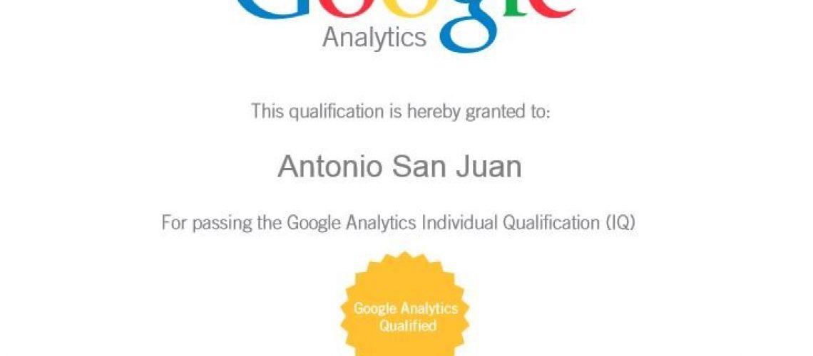 Analista web - Antonio San Juan - GAIQ Certificación de Google Analytics 2013